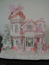 Shabby Pink Chic Glittered Musical Lighted Christmas Village House