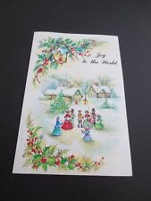 #K427- Vintage Unused Glittered Xmas Greeting Card Victorian Carolers Singing