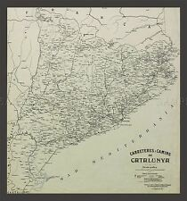 MAP ANTIQUE PUBLIC WORK 1921 ROADS CATALONIA LARGE REPLICA POSTER PRINT PAM1185
