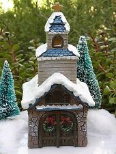 Miniature FAIRY GARDEN House ~ Victorian Village CHRISTMAS Church with LED Light