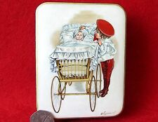 Russian LACQUER Box Children: Older Brother & NEW BABY in pram Christening GIFT