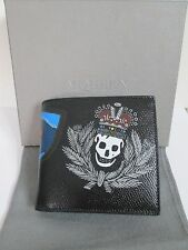 NIB Authentic Alexander McQueen Badge Skull Black Leather Bifold Wallet $345