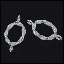 4x 925 Sterling Silver Twisted Rope Oval Connector Beads 14mm #51305