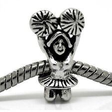 Cheerleader With Pom Poms European Charm Bead For Charm Bracelets And Necklaces