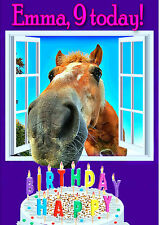 PERSONALISED HORSE PONY BIRTHDAY CARD Top Quality + Colour Illustrated Insert