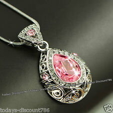 Rare Pink Crystal Necklace Love Birthday Xmas Gift Her Wife Girlfriend Sis Women