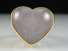 14K Rose Quartz Ring Heart Shape Pink ITALY Yellow Gold Fine Jewelry Size 8
