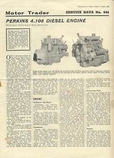 Perkins 4.108 Diesel Engine  Motor Trader Service Data No. 446 1966