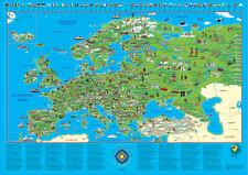Illustrierte Europakarte Poster Querformat #100604L