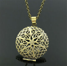 Bronze Locket Necklace Fragrance Essential Oil Aromatherapy Diffuser Pendant B2