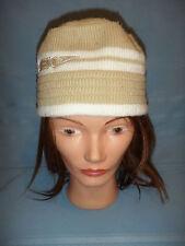 Vintage Speedo Knit Winter Hat Beige & Cream Beanie Scull Cap