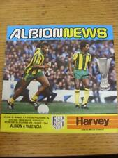 06/12/1978 West Bromwich Albion v Valencia [UEFA Cup] (Score Noted On Back). Ite