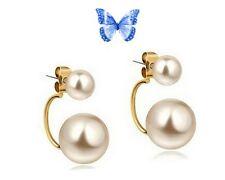 Boucles d'Oreille Pendantes Design 2 Perles Plaqué or