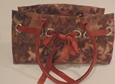 Claudia Firenze Jelly Tote Bag Leather Shoulder Straps & Trim Brown Florals