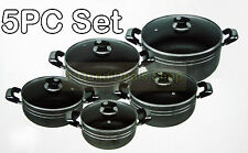 STYLISH BLACK 5PC NON STICK COATED DIE-CAST CASSEROLE SET GLASS LIDS COOKWARE