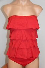 NWT Michael Kors Swimsuit Tankini 2 pc set Sz L Chili Ruffle Bandeau Classic