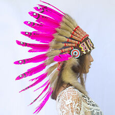 SALE!! Feather Headdress - Native American Indian style War Bonnet - Pink Duck