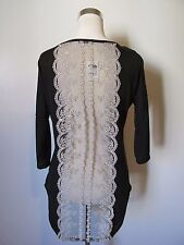 Charlotte Russe Black/Lace Sheer Back Short Sleeve Knit Hi-Lo Top NWT SZ: M