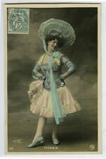 c 1907 French Theater Cabaret Mlle TITANIA Music Hall Showgirl photo postcard.