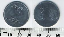 India 2010 - 2 Rupees Stainless Steel Coin - Asoka column - Hasta Mudra -diamond
