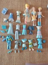 "Polly Pocket Dolls Lot ""Colors of the Rainbow"" Blue Clothes Outfits Pet F53"