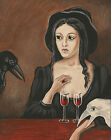 11X14 PRINT FROM PAINTING RYTA HALLOWEEN CROW RAVEN ART WHIMSICAL WITCH GOTHIC