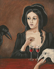 5x7 PRINT of PAINTING RYTA HALLOWEEN CROW RAVEN ART WITCH GOTHIC VINTAGE STYLE