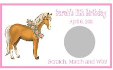 Horse Pony Birthday Scratch Off Tickets Favors