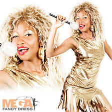 80s Tina Turner + Wig Ladies Fancy Dress 1980s Celebrity Popstar Womens Costume