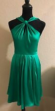 Halston Heritage grass green 6 knot front halter flare dress NEW $395
