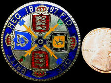 R266: 1887 Queen Victoria Silver Florin – enameled and made into a brooch