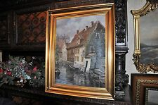 Antique Flemish Canalscape  Beautiful work oil on Canvas