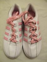 ladies white and pink trainers laced size 5 DEFECT (695.96)