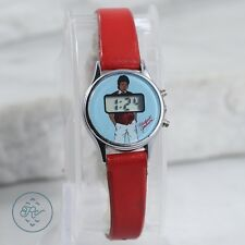 Vintage Stainless Steel | MICHAEL JACKSON Case Digital Red Leather Band | Watch