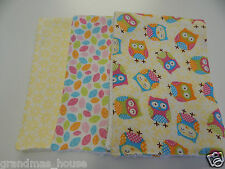 Owls on Cream Trio Burp Cloths  Towelling Backed GREAT GIFT IDEA!!