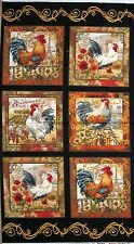 "23"" Fabric Panel - Timeless Treasures French Country Rooster Blocks Black"