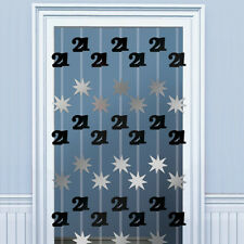 6.5ft Happy 21st Birthday BLACK Door Doorway Danglers Party Decoration