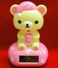 Nohohon Flip Flap Solar Powered Good Night Rilakkuma Teddy Bear  #A - Pink Color