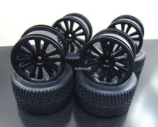 Front + Rear Rubber Radial Tire /w inserts + Rim for Traxxas 1/16 E-Revo