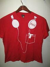 Coca Cola Coke Soda Pop Ipod MP3 Player Headphones Red & White Womens T Shirt XL