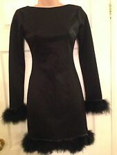 Rare London Top Shop Black Dress with Marabou Feather Trim BNWT  - Size 6