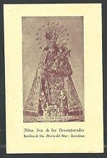 estampa antigua de la Virgen de los Desamparados santino holy card image pieuse