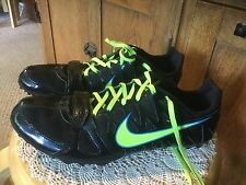 Pre Owned Nike Sprint Zoom Rival S Women's Cleats. Size 10.  Black, Yellow, Blue