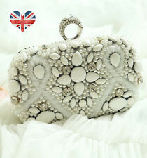White beaded rhinestone box clutch wedding bag purse handbag rhinestone crystal