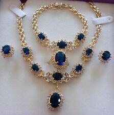 SE53 18k GOLD GF STATEMENT necklace bracelet ring earrings sim diamond +SAPPHIRE