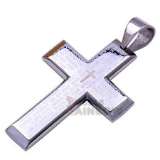 P14 Mens stainless steel Gold Silver Black Lord Prayer Bible Cross Pendant