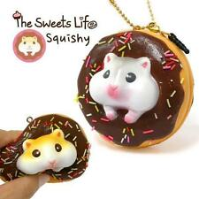 The Sweet Life Squishy Ball Chain Strap Charm (White Hamster Chocolate Donut )