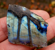 AAA GRADE MADAGASCAR LABRADORITE IRIDESCENT 1 SIDE POLISHED FREEFORM 35mm x 30mm