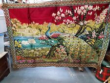 Vintage Peacock Garden Scene Tapestry Wall Hanging Made in Italy
