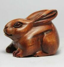 ORIENTAL OLD BOXWOOD HANDWORK CARVING RABBIT NETSUKE